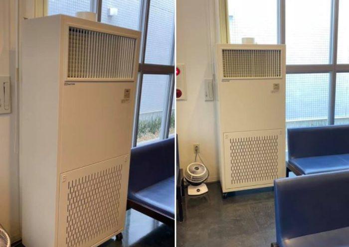 感染対策空気清浄ユニットを待合室に設置致しました。